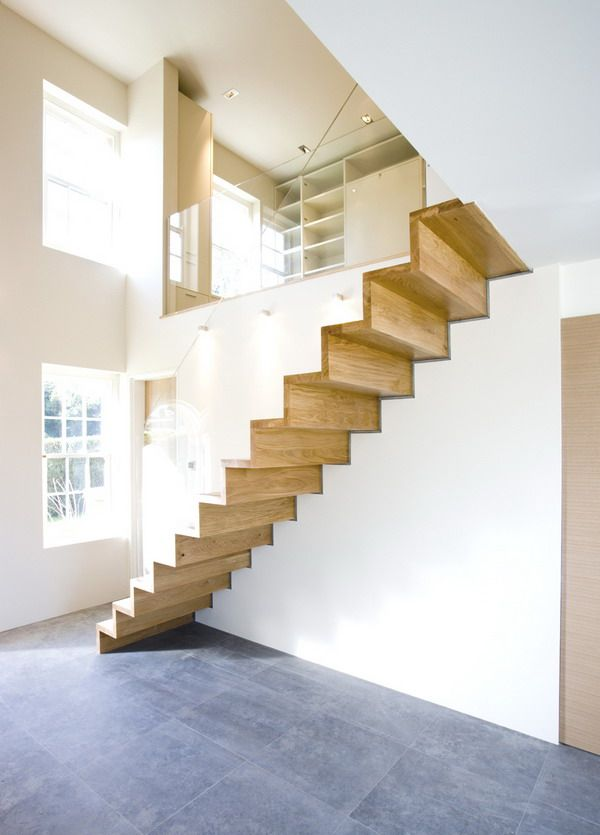 Ravishing Minimalist Small Space Design Ideas With Laminated Solid Pine Wood  Staircase Featuring White Colored Wall