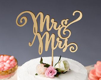 Wedding Cake Topper - Mr and Mrs Cake Topper - Gold - Daydream ...