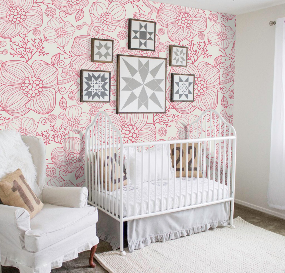 Red Line Flowers Removable Wallpaper Red And White Wall Mural Etsy 115897390398072840 Removable Wallpaper Mural Design How To Install Wallpaper