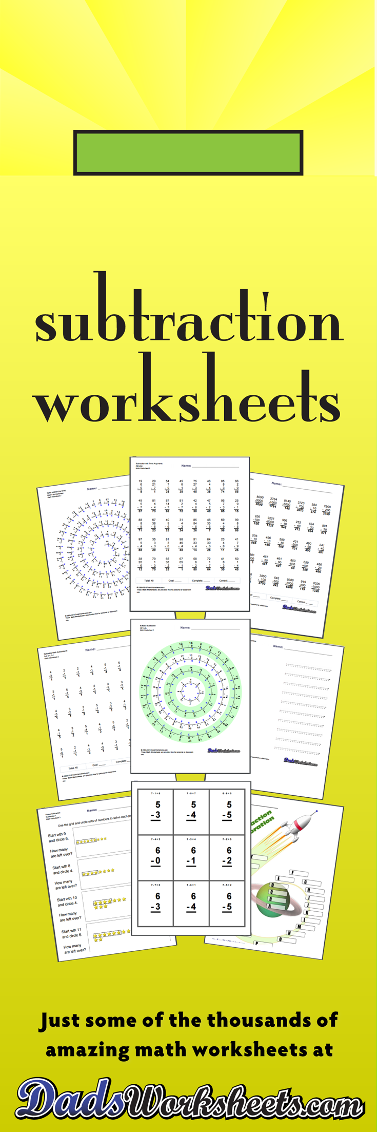 Printable Subtraction Worksheets with Answer Keys! Timed tests [ 2205 x 735 Pixel ]