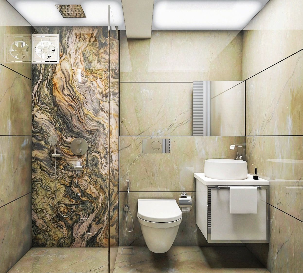 3D Perspective Render of a Small toilet marble wall cladding with