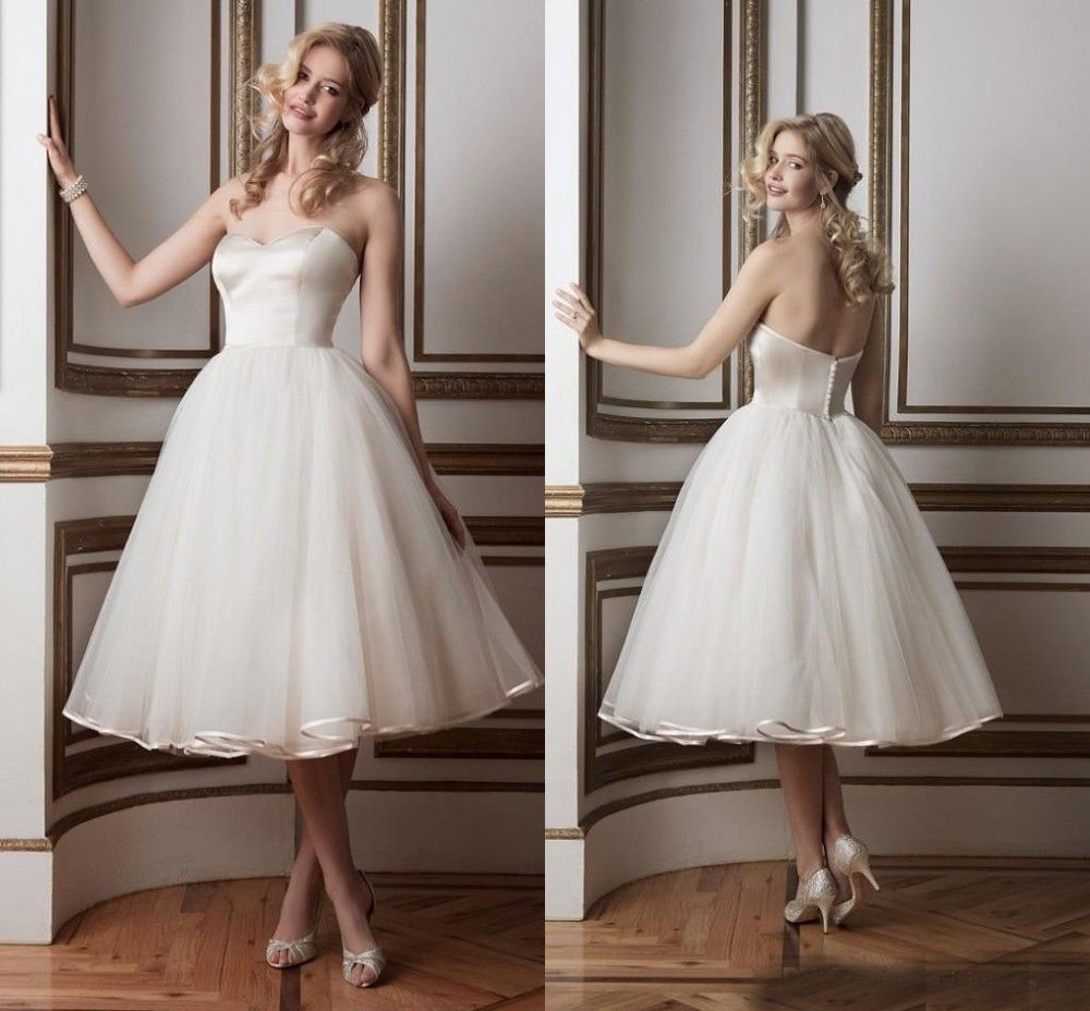 Sweetheart off the shoulder simple style tea length wedding dress