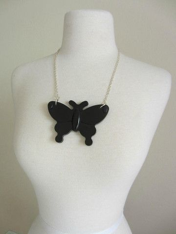 Papillion necklace. Black resin, sliver plated chain. i heart fashion boutique  Can custom make any color