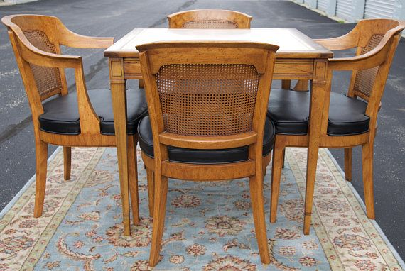 Vintage Henredon Or Card Table With 4 Cane Chairs