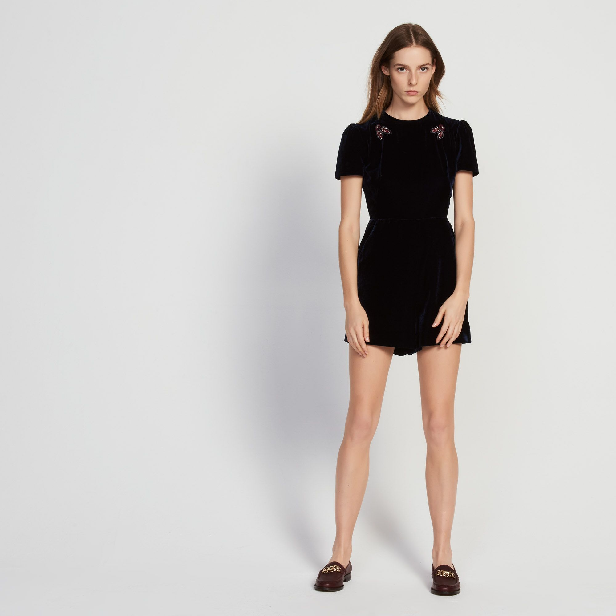Sandro Playsuitbr Round Neck And Short Sleevesbr