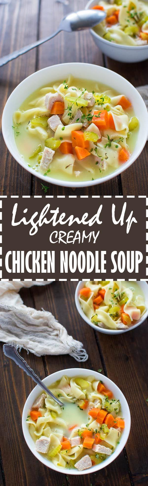 Tasty and comforting, this Lightened Up Creamy Chicken Noodle Soup is easy to make and can be enjoyed without any guilt. ❤ COOKTORIA.COM