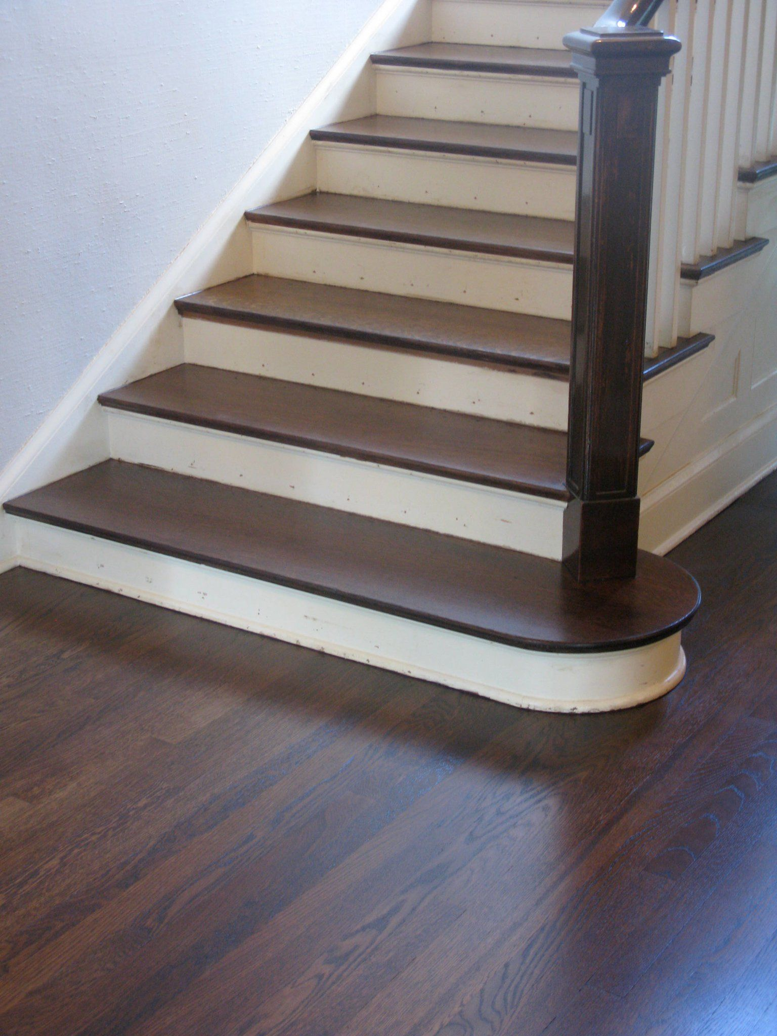 Dark Stained Hickory Wood Floors Combined With Two Tone