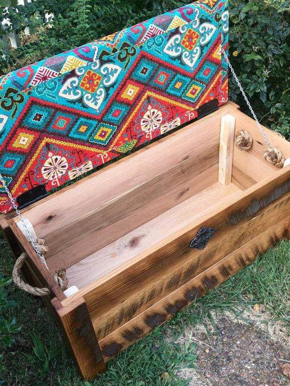 Hope Chest Toy Box Entryway Bench Cushioned Bench Storage Chest Choose Your Own Fabric And Cast Iron Em Cofre De Madera Muebles De Pales Baul De Madera