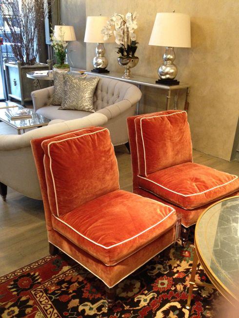 Genial Vintage Seeming Orange Velvet Slipper Chairs With White Piping. Love. Love.  Love. {Lillian August Store}