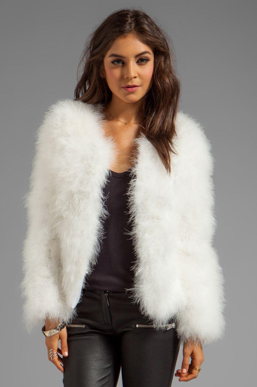 Line  Dot Marabou Faux Fur Jacket in White  Jackets in