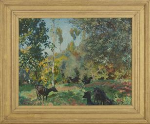 Sargent spent the autumns of 1908 and 1909 on the Mediterranean islands of Majorca and Corfu where he painted Landscape with Goats, a lively rendering of animals and rich foliage in dappled sunlight. | Landscape with Goats | ca. 1909 | John Singer Sargent (American, 1856-1925) | Oil on canvas | United States | Gift of Charles Lang Freer | Freer Gallery of Art | F1913.46a-c