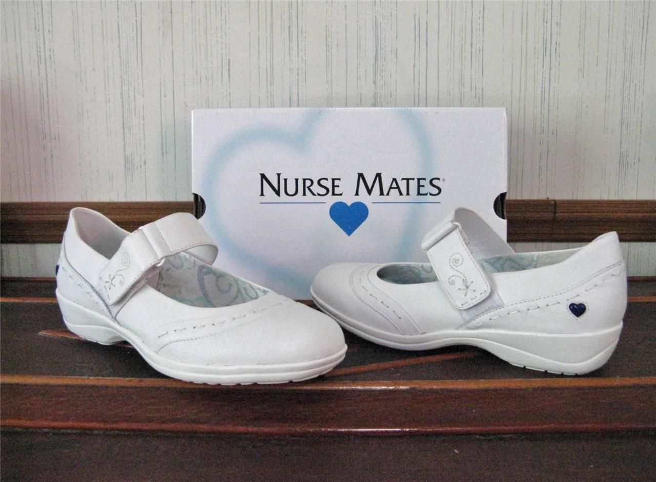 New $68 NURSE MATES Womens MARIANDA Mary Jane Nursing Shoes White ...