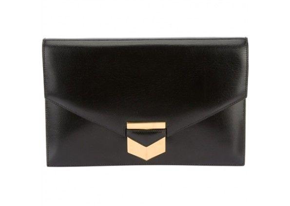 Hermes Black Leather Envelope Clutch Bag