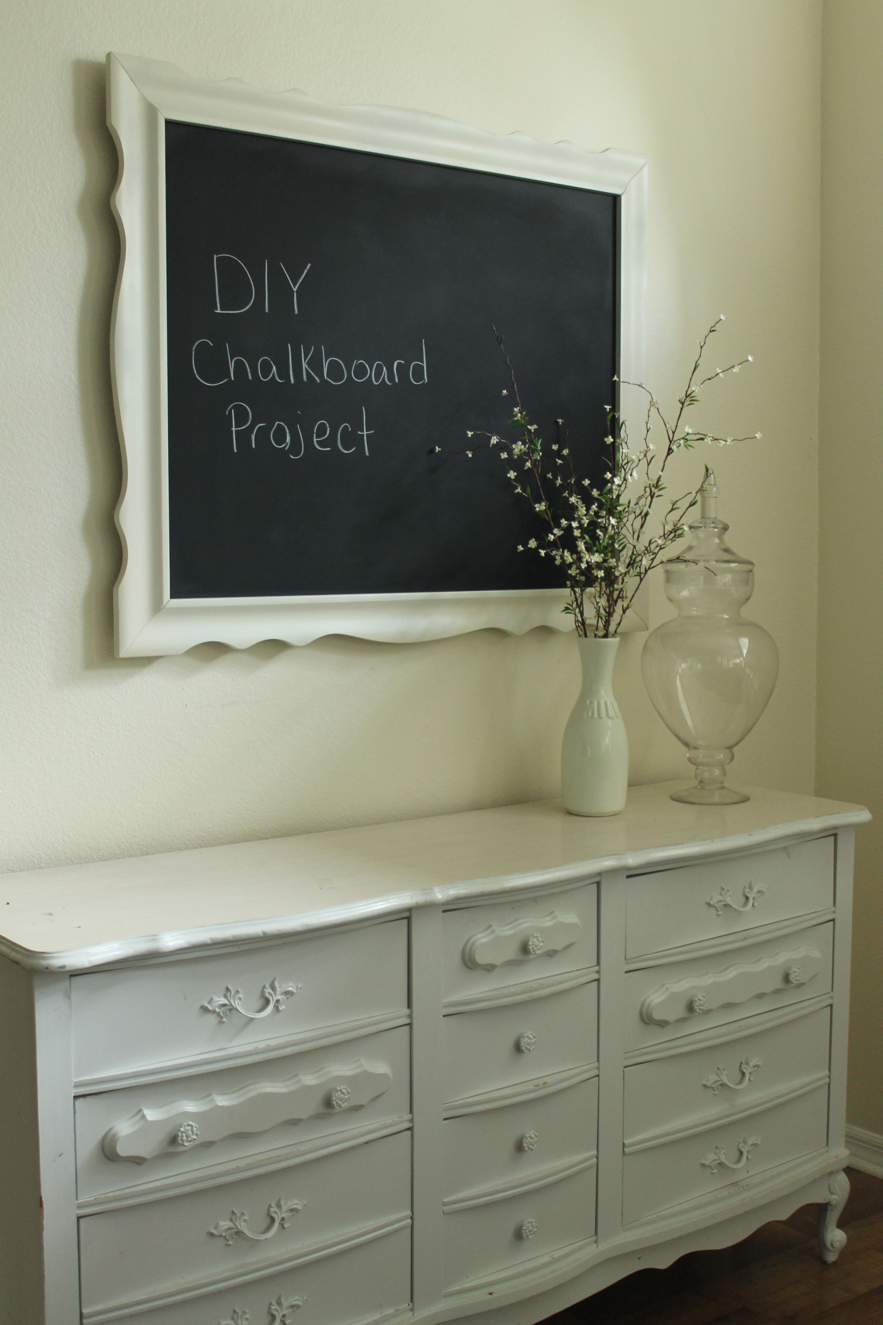 Thrift Dresser Used As Dining Room Buffet 62 Mirror Turned Into A Chalkboard 15 Total Cost With Accessories 100