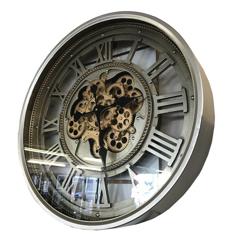 Kesgrave Vintage Retro Aged Mechanical Moving Gear Skeleton 60cm Wall Clock Gear Wall Clock Vintage Clock Wall Clock