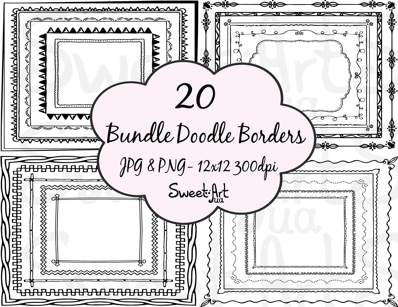 Doodle Borders And Frames Bundle Doodle Borders Sale
