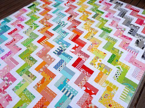Colorful zig zag scrap quilt - cut scraps 2