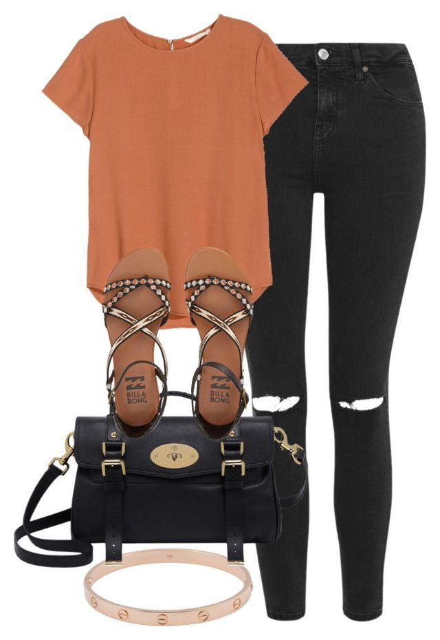 Burnt Orange Shirt Outfit by kgarcia8427 on Polyvore featuring polyvore  fashion style H\u0026M Topshop Billabong Mulberry Cartier clothing