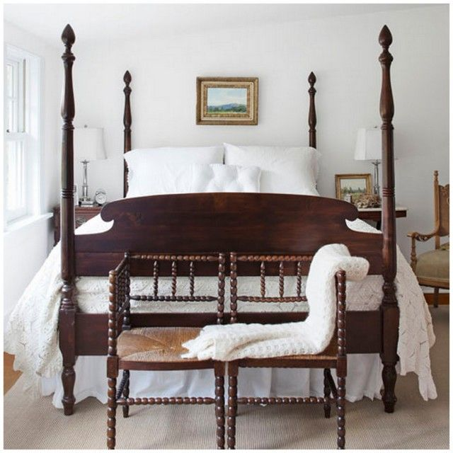 Master Bedroom Inspiration: Farmhouse White With Beautiful Mahogany Four  Poster Bed, Simple Artwork, And A Pair Of Antique English Oak Corner  Chairs. Crisp, ...