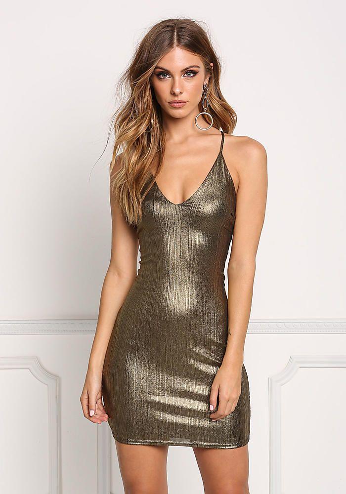 f29b8c17490e Gold Metallic Low Back Cross Strap Bodycon Dress - Halloween - Trends