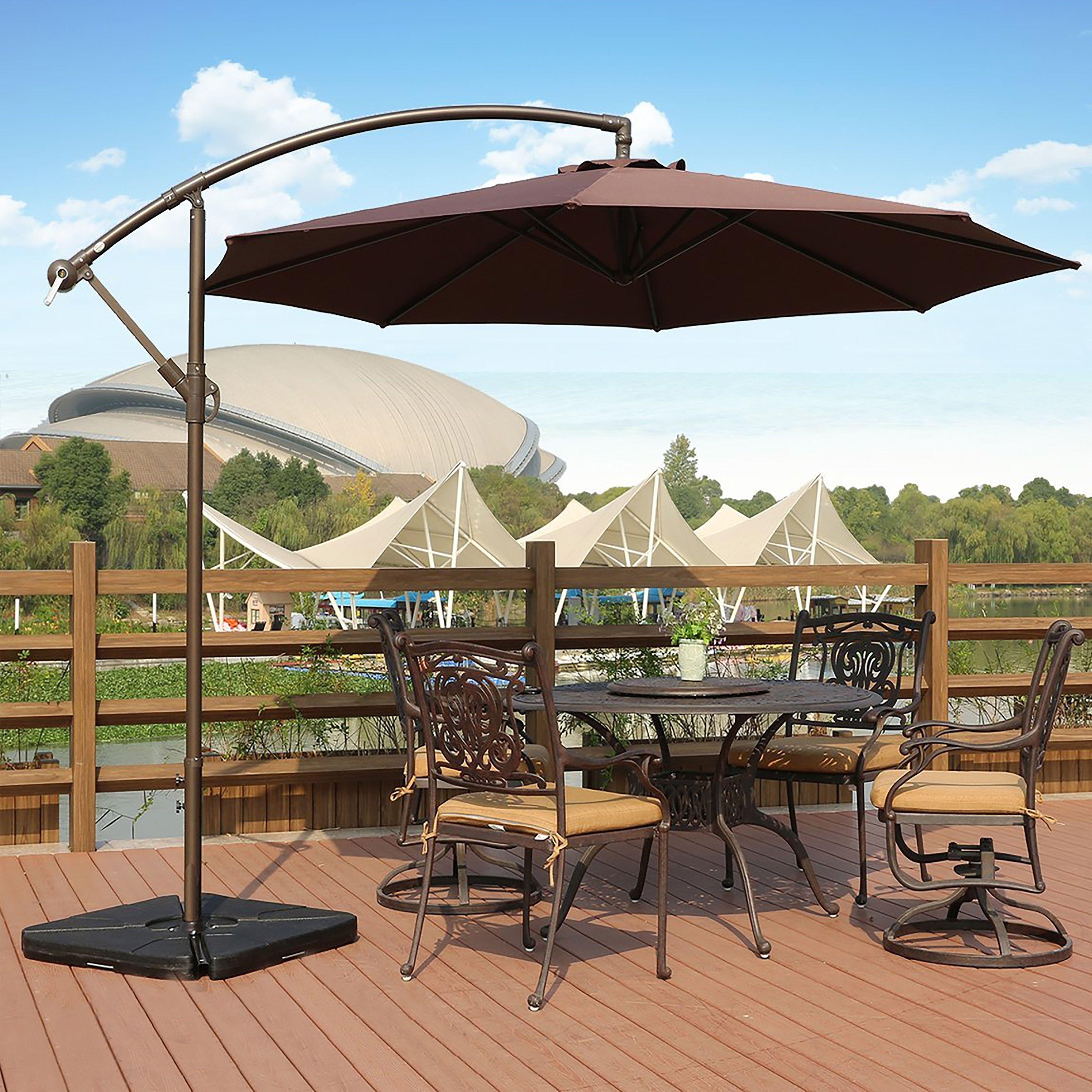Westin Outdoor Weller 10 Ft Offset Cantilever Hanging Patio Umbrella (Coffee (Brown)) #9801021 & Westin Outdoor Weller 10 Ft Offset Cantilever Hanging Patio Umbrella ...