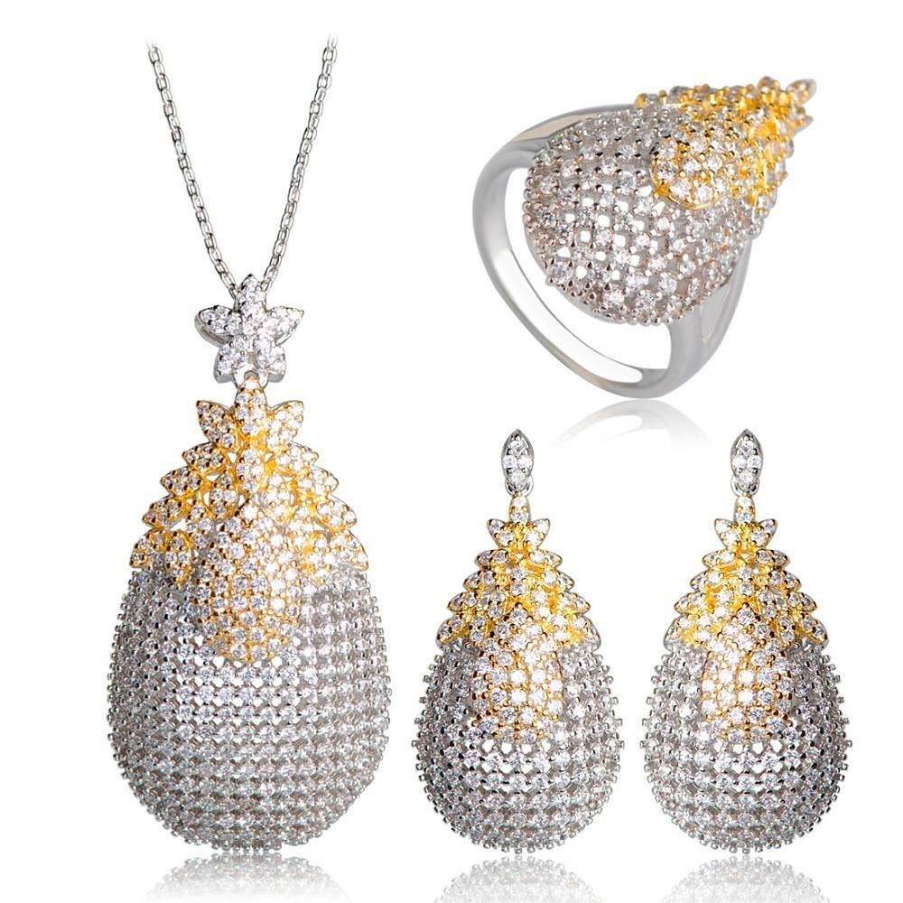 اطقم ريديوم مرصعة بالزركون 2018 راقية جدا و مذهلة دقة عالية في المصنعية ذهب فضة مطلي خواتم أساور سلس أطقم ك Bridal Jewelry Wedding Jewelry Sets Zircon Jewelry
