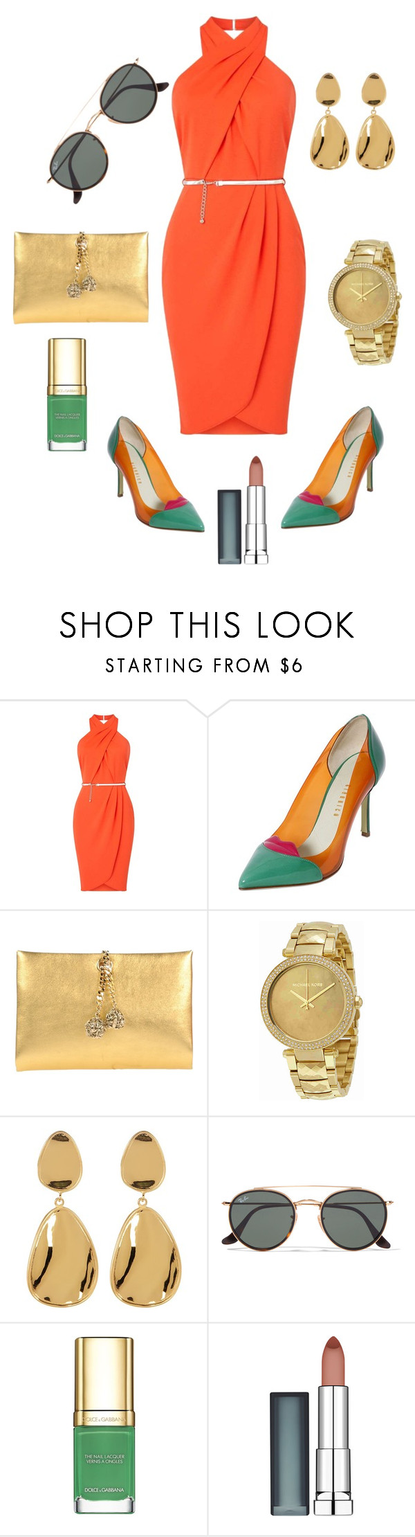 """Untitled #936"" by stylemirror ❤ liked on Polyvore featuring Miss Selfridge, Giannico, Roberto Cavalli, Michael Kors, Argento Vivo, Ray-Ban, Dolce&Gabbana and Maybelline"
