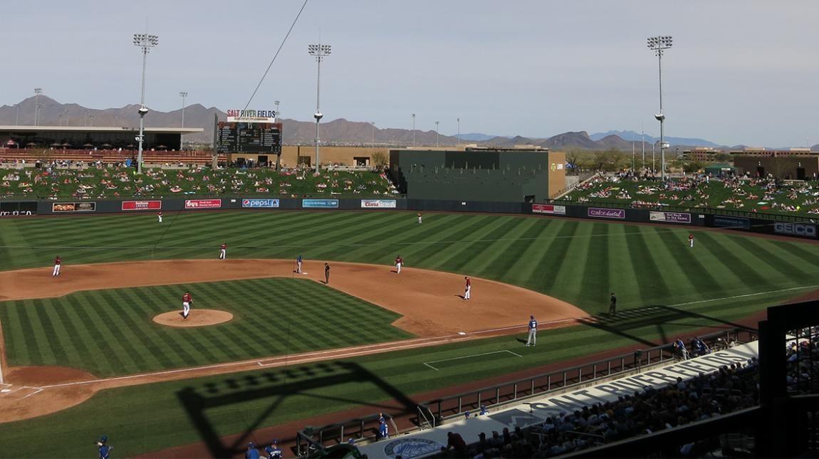 Spring training baseball under the warm arizona sun has
