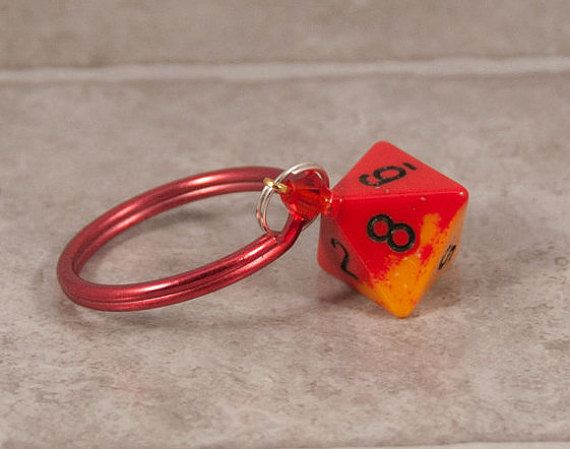 Orange and Yellow D8 Keychain  Tabletop Gaming Accessories