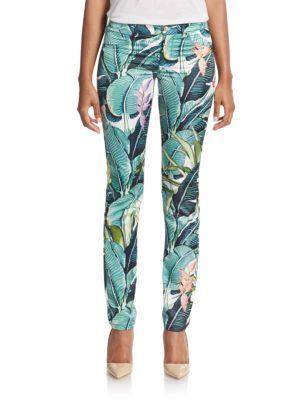 4ce00f9152b0a JUST CAVALLI Tropical-Print Skinny Jeans. #justcavalli #cloth #jeans ...