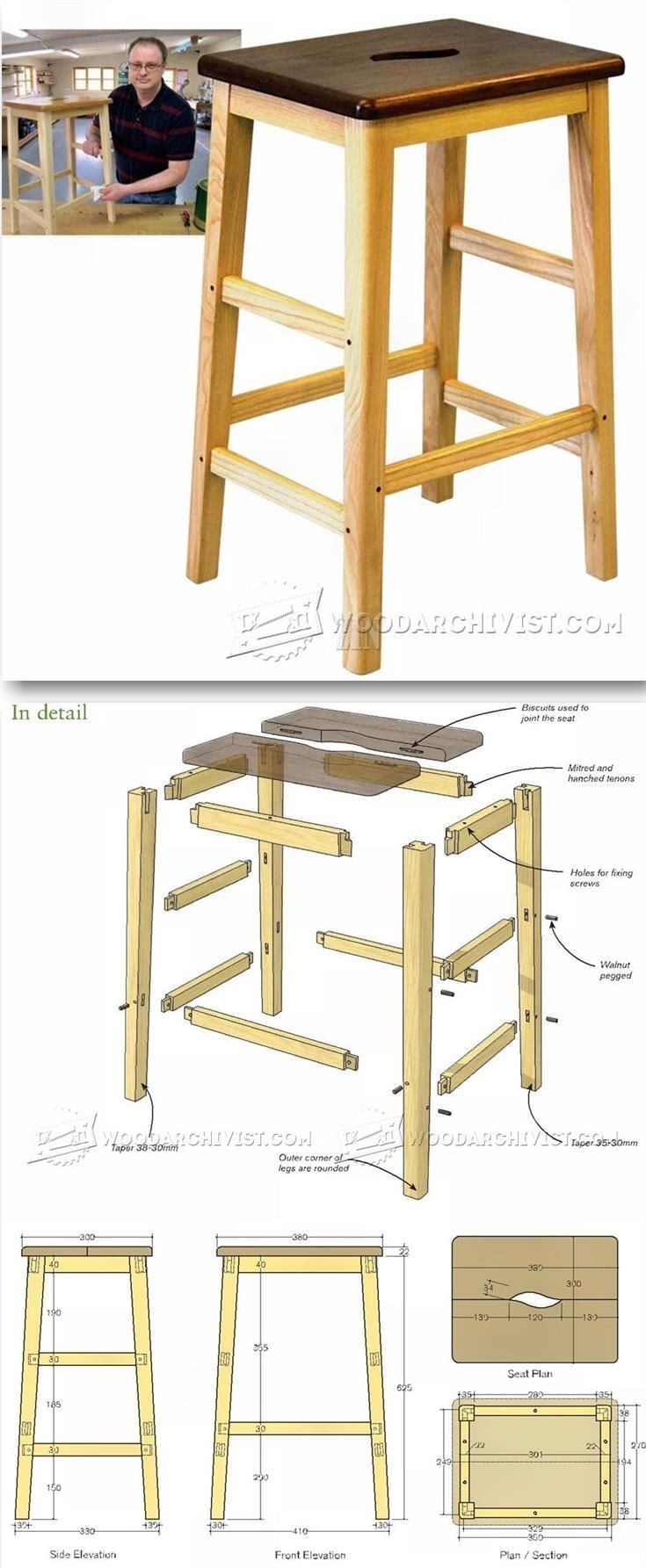 Awesome bench stool plans furniture plans and projects - Progetti mobili fai da te ...