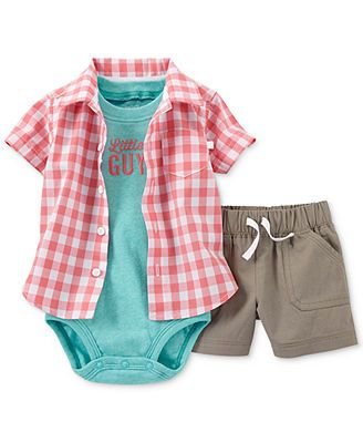 Carter S Baby Boys 3 Piece Shirt Bodysuit Shorts Set