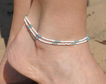 for pearl boho everyday anklets waxed il cord market etsy chic her beach anklet
