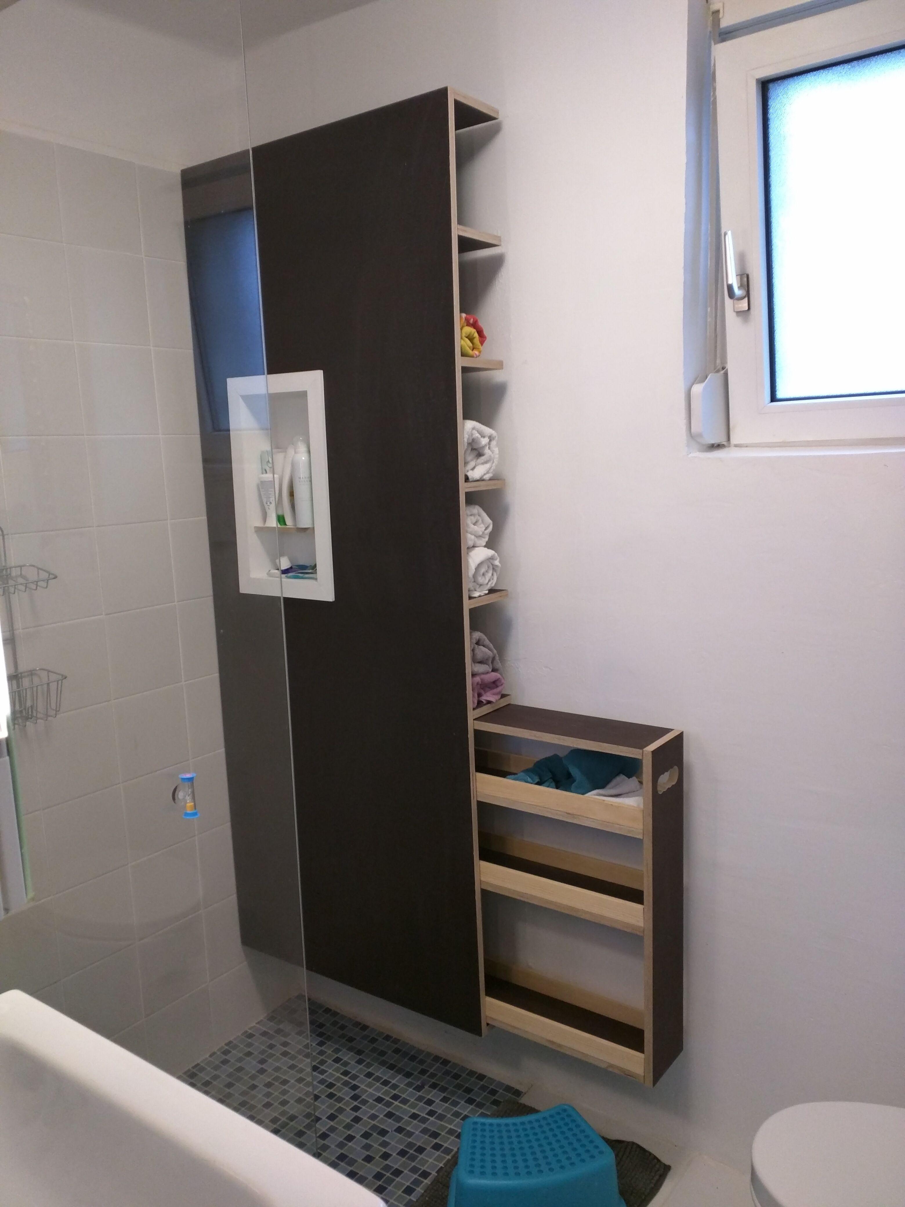 Badmobel Mit Shampoohalter Handtuchregal Und Schublade Siebdruckplatten Fur Feuchtraum Badezimmer Einrichtung Regal Bad Handtuchregal