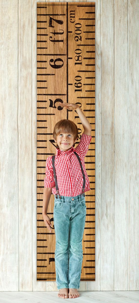 Vintage inspired height chart with wooden Oak by TheLetterLounge