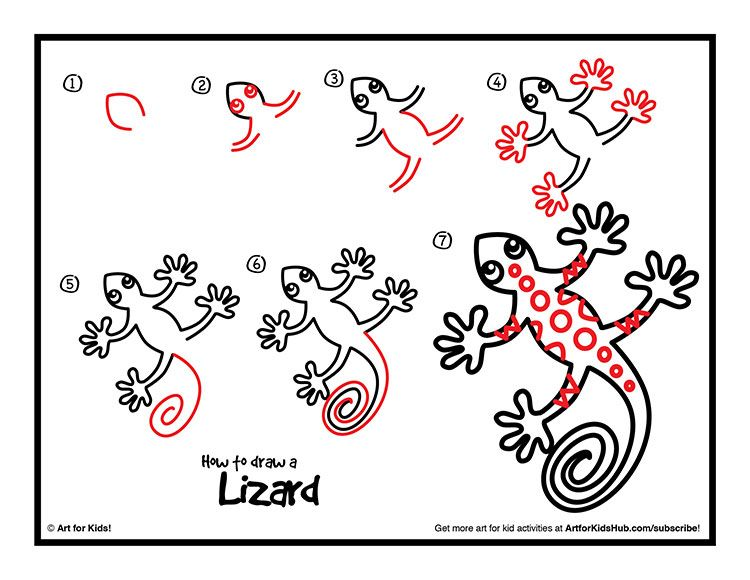 Art for Kids: How to draw a lizard