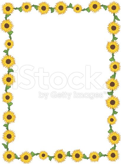 free sunflower page borders for word - Google Search Education