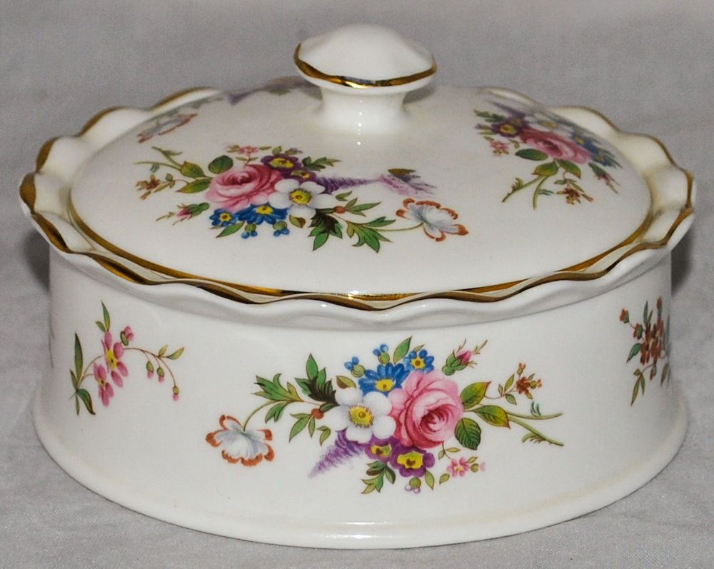 AYNSLEY Howard Sprays Fine Bone China Storage Bowl With Lid In Mint  Condition
