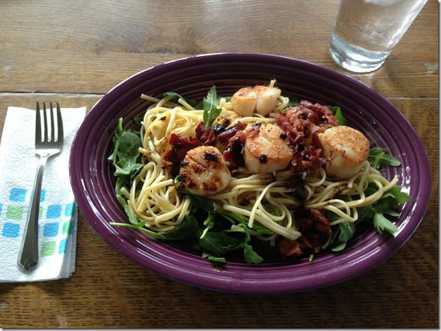 Scallops with bacon arugula and linguine. Easy recipe, and I got to learn about wet scallops vs. dry scallops.