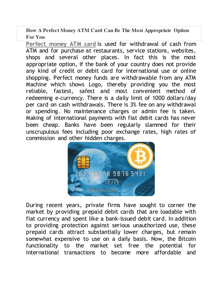 Pin on benefits of using perfect money atm card