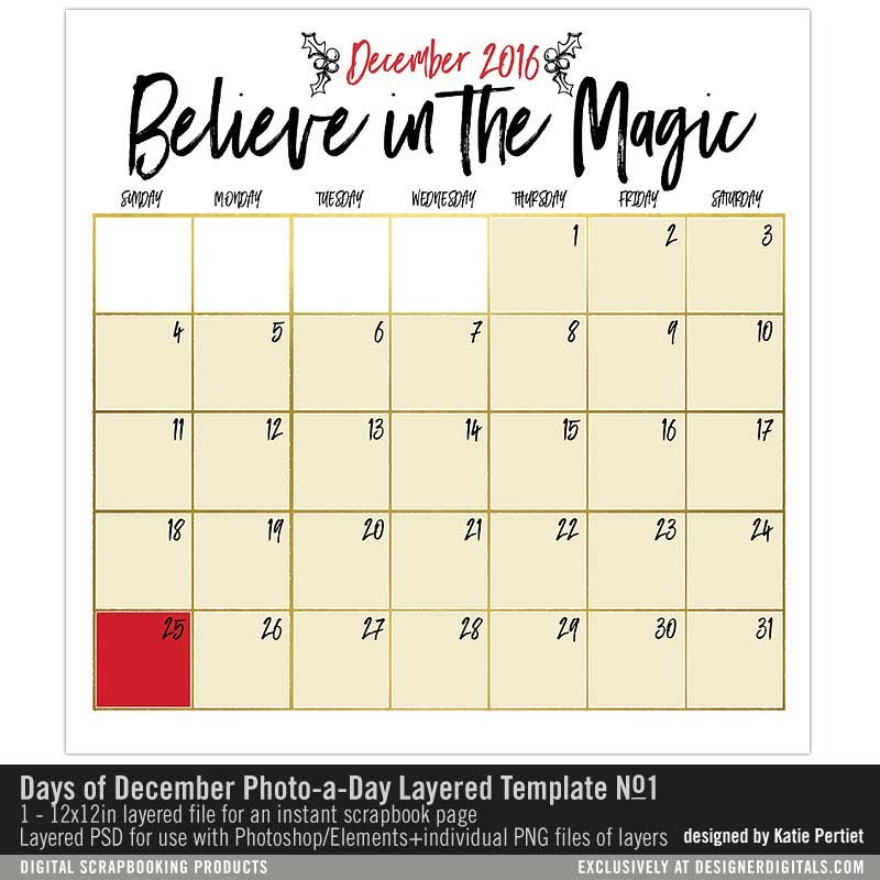 Days of December Photo a Day Layered Template 2016 No 01 perfect