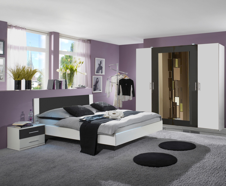 Schlafzimmer Mit Bett 180 X 200 Cm Alpinweiss/ Anthrazit Woody 132 00110  Holz Modern