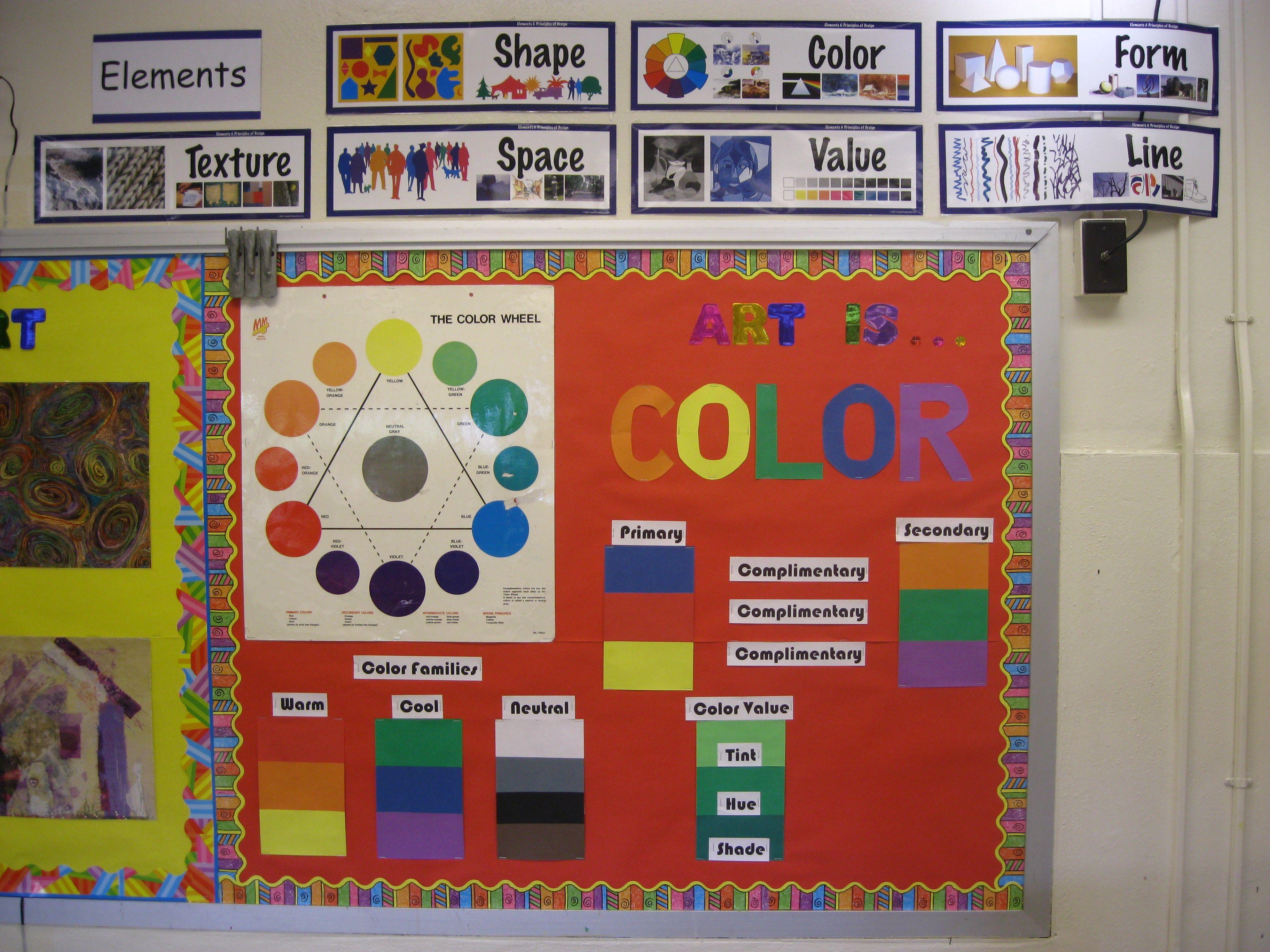 Elements And Organization Of Visual Arts : Organization art room tour bulletin board and