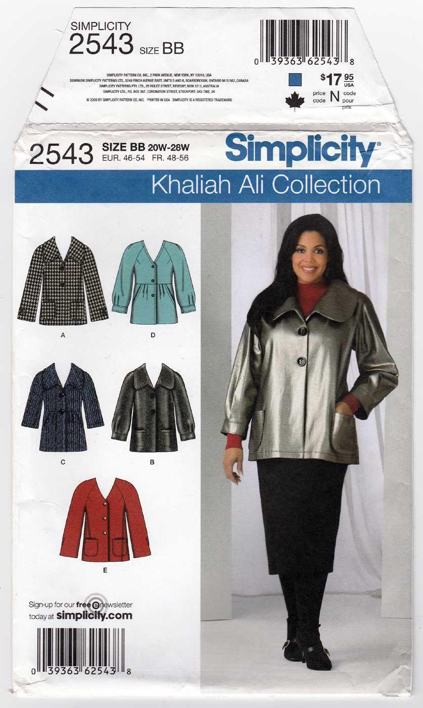Women S Jacket Sewing Pattern Size 20w 22w 24w 26w 28w Uncut