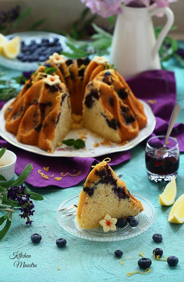 كيكة التوت الازرق و الليمون Blueberry Lemon Cake Food Food Photography Lemon Cake