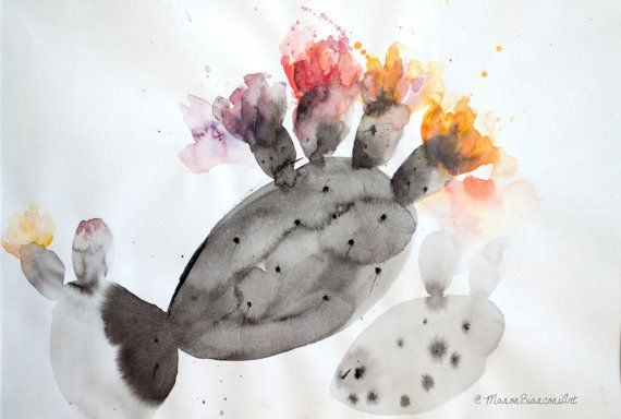 Aquarelle Originale Encre De Chine Figuier De Par Manonbianconiart