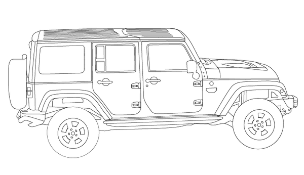 Jeep Wrangler Unlimited - Coloring Book Page | Jeep Coloring Book ...