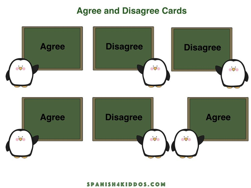 Color Penguin Theme Agree And Disagree Cards To Make Quick