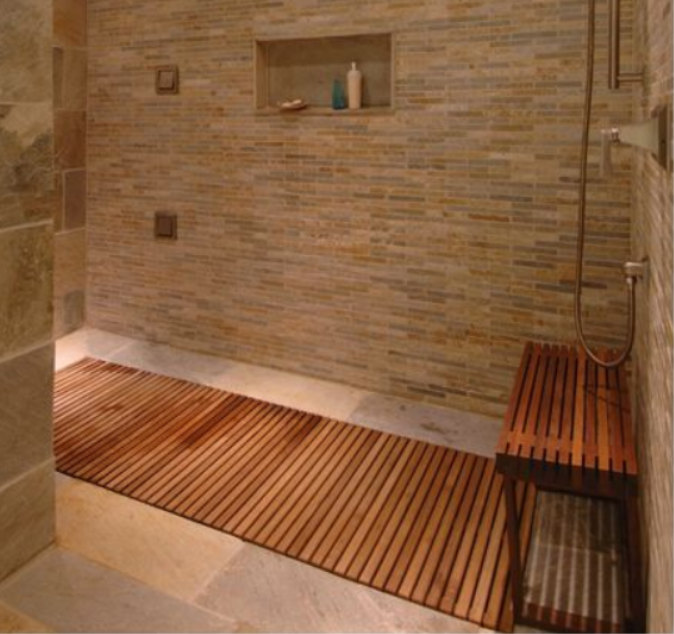 Inset With Continuing Border Of Tile Teak Shower Floor