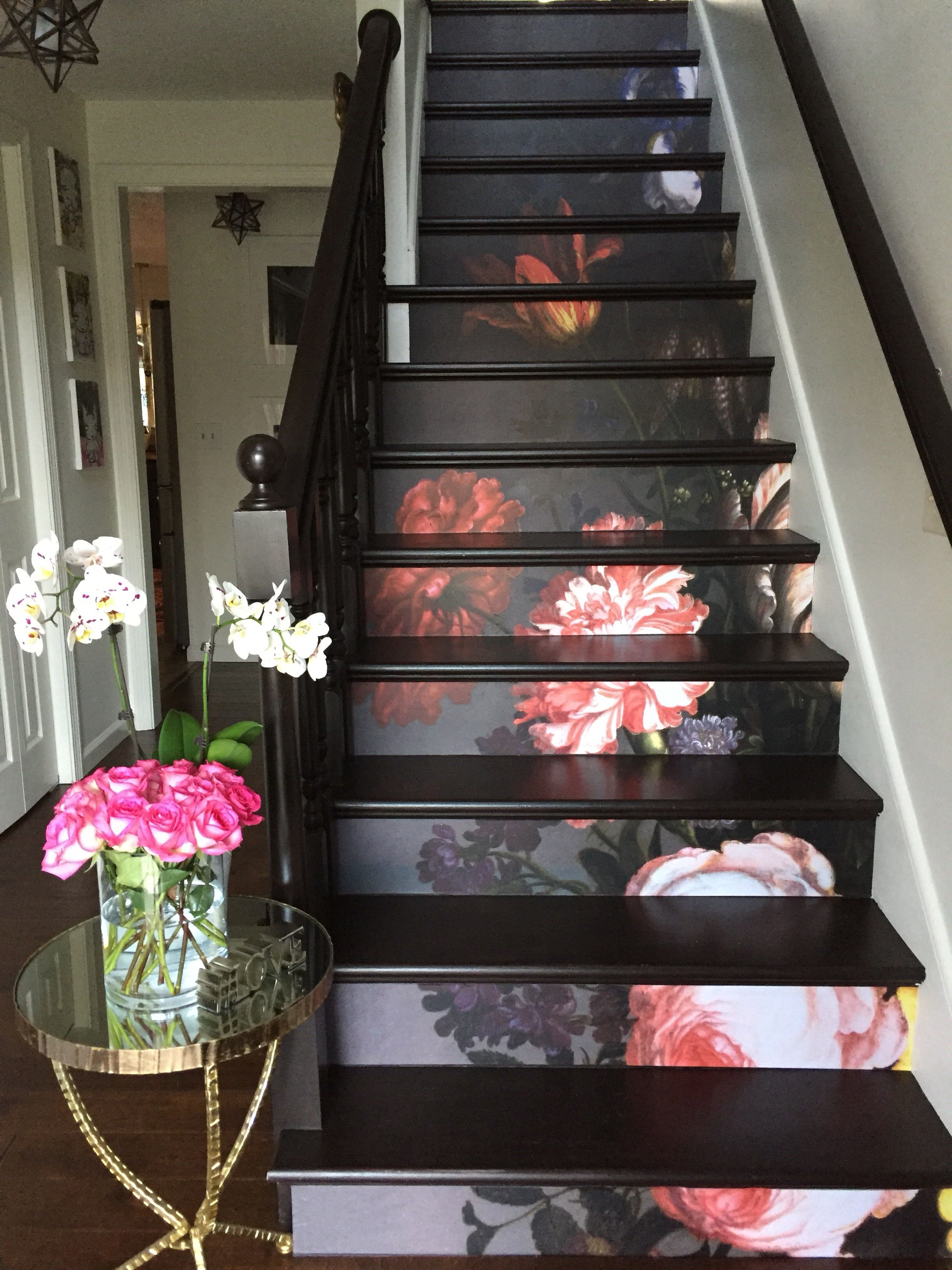 10 step stair riser decal vintage painted flowers stair sticker floral removable stair riser decor strip peel and stick stair riser stairshacks stairs